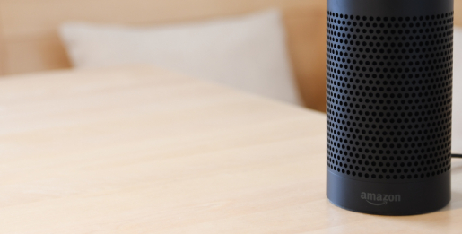 Amazon Echo device on a table